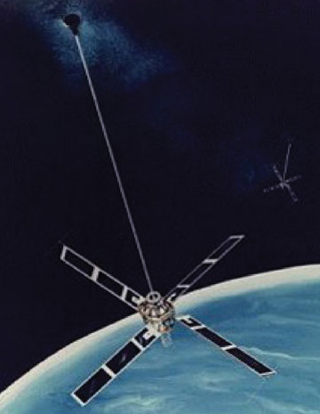 Figure 3. A Transit satellite showing the gravity-gradient boom that kept the antennas pointing at the earth.