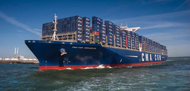 The 18,000-container-capacity CMA CGM Kuergelen. (Photo: CMA CGM)