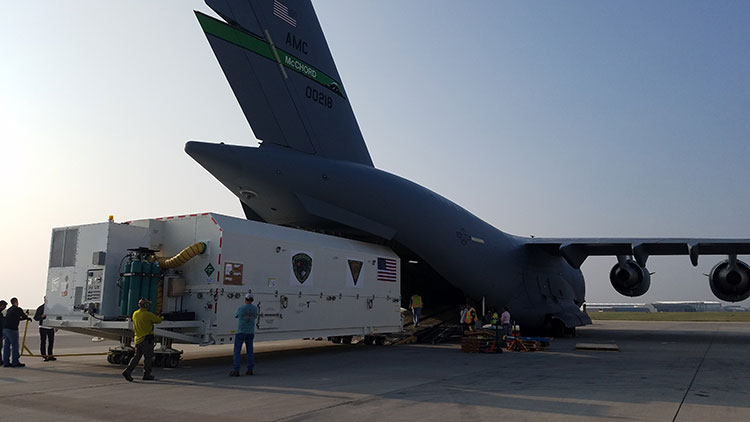The first GPS III satellite is loaded aboard a U.S. Air Force C-17 at Buckley AFB, Colorado, to begin processing for a December launch aboard a SpaceX rocket from Cape Canaveral. (Photo: U.S. Air Force/Lt. Col. Erin Gulden)