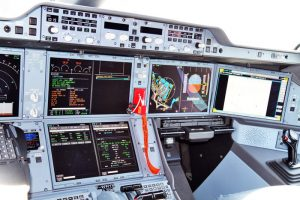 Cockpit of a new EGNOS-equipped Airbus 350 XWB, on show during the inaugural EGNOS Day at Toulouse-Blagnac Airport on May 7, 2015. (Photo: ESA)